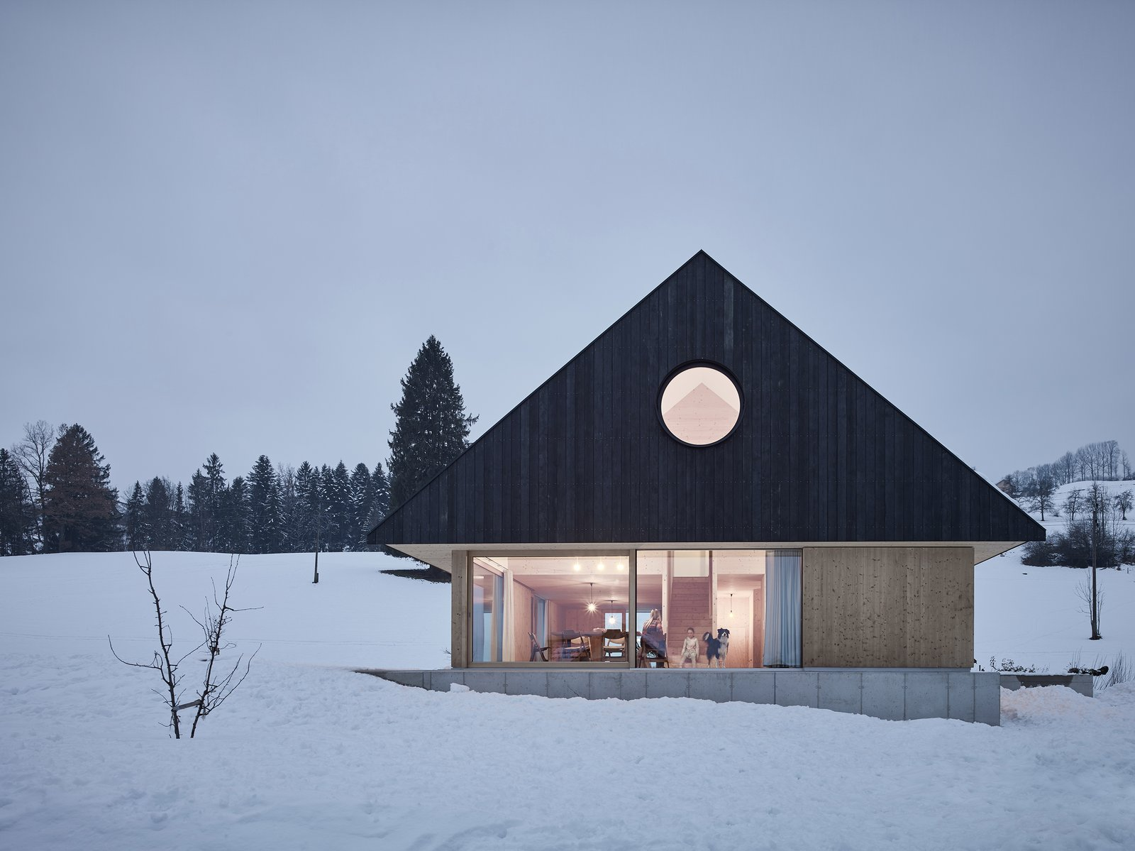 Exterior, Gable RoofLine, House Building Type, and Wood Siding Material  Best Photos from This Sleek Austrian Home Turns Into a Cozy Light Box at Night