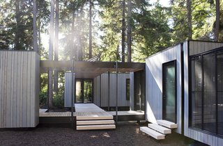 The Madrona by NODE is a 750-square-foot, zero-net energy guest house. Grid-tied, it stores energy with battery backup.
