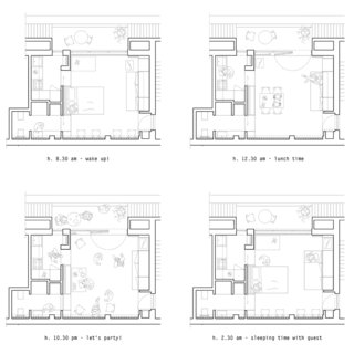 The floor plan can adapt to different occasions and times of the day.