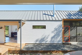 An up-close look at the Scandi-style steel porch columns.