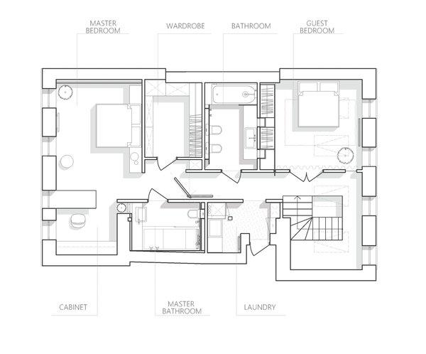 Attic floor plan drawing.