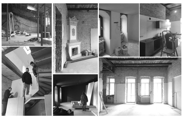 A peek at the architect and designers assessing the original apartment.