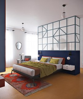 A look at the second zone of the home, which contains a custom-designed bed.
