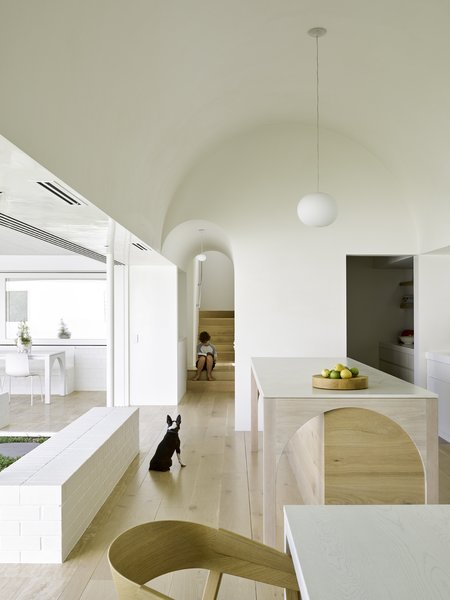 In the kitchen, which functions as the heart of the house, the architects have created a geometrically pure, double-height barrel vault.
