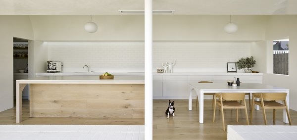 The new extension contains communal spaces, as well as the master bedroom.