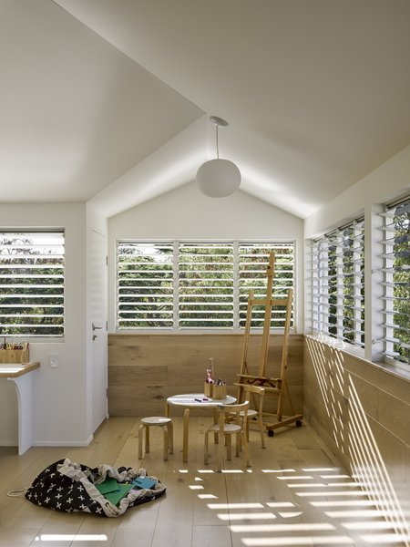 An airy, sun-drenched playroom.