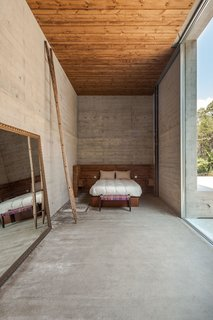 An elongated master bedroom.