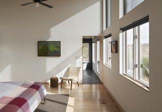 White oak flooring in the bedroom.