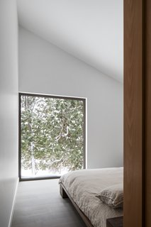 Set back from the main living areas, the master bedroom provides peaceful views of the cedars outside.