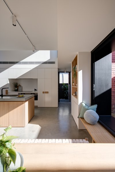 Custom-designed timber handles reinforce the Tetris concept.
