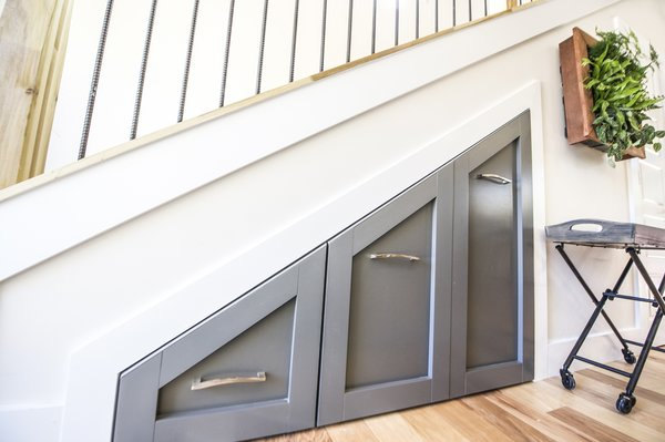 Wind River Tiny Home custom polygon storage stairs on casters made to fit the angle of the staircase