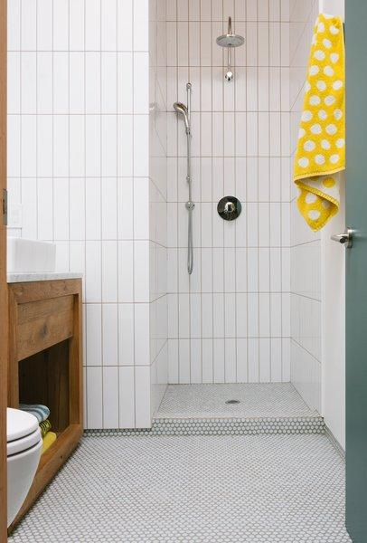 SomerTile silk penny round mosaic floor tiles.
