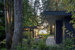 Cedar platforms close to the ground extend beneath the cabin's broad eaves to create spaces that frame outdoor space.
