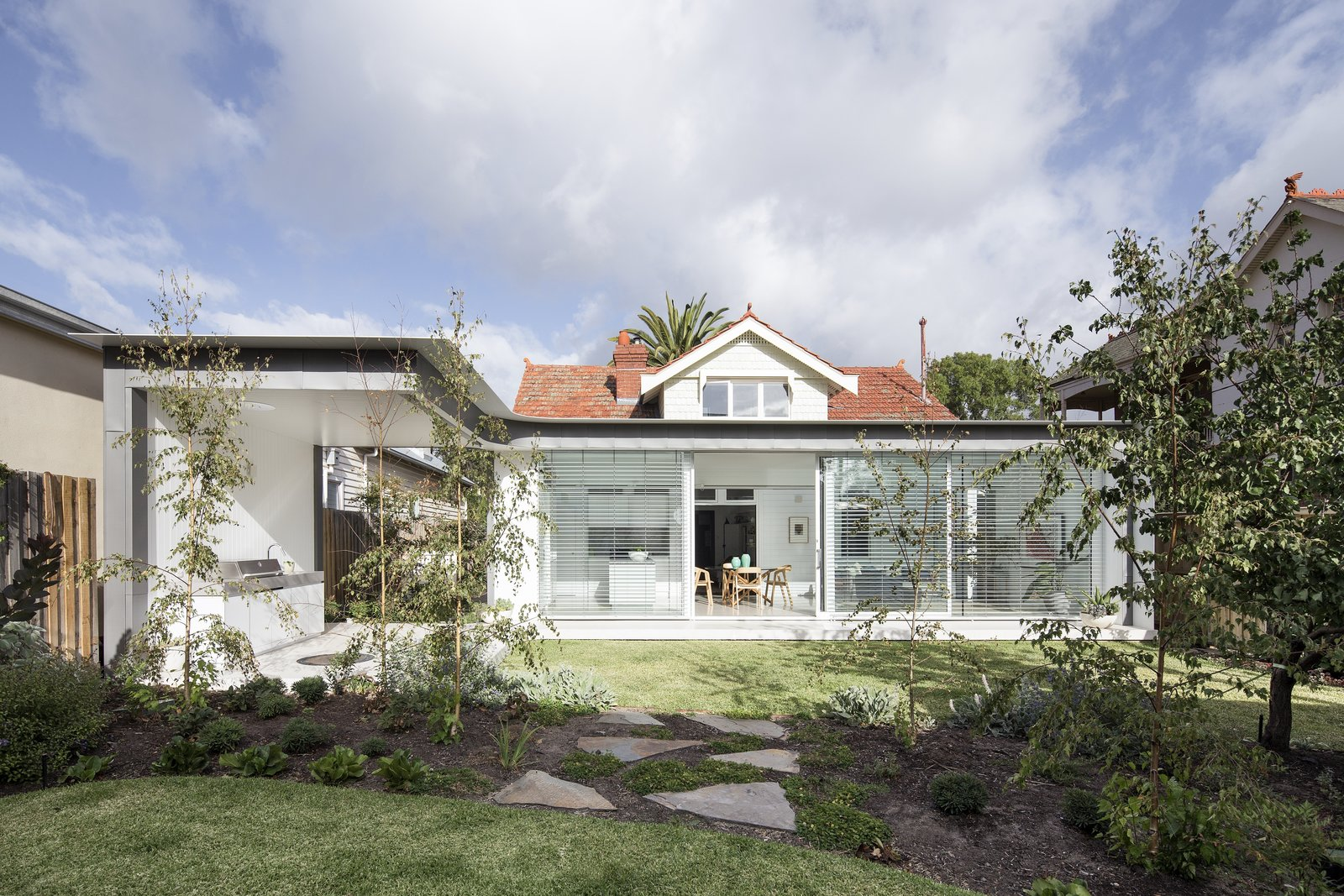 Exterior, Brick, Shingles, Gable, House, Glass, and Flat  Best Exterior Flat Gable Photos from A Renovated Melbourne Bungalow Keeps its Clapboard Character