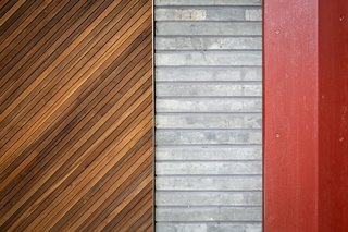 Different materials and textures create an interesting facade.