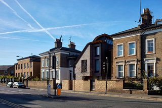 Makers House rests on an irregular site in Hackney, London.