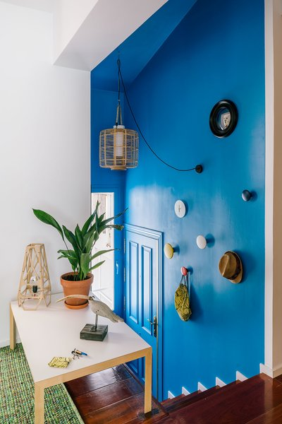 A bright blue stairwell leads up to the living areas.