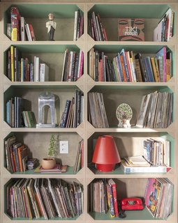 """The shelves with green-painted interiors—a nod to the cases found in old bookshelves—house the artist's collection of comics, vinyl records, and objects,"" says Semerene."