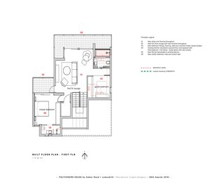 The first floor plan of the Polychrome House.