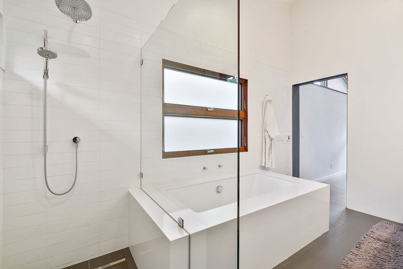 Bath Room, Ceramic Tile Floor, Open Shower, Engineered Quartz Counter, Undermount Tub, Ceiling Lighting, Ceramic Tile Wall, and Subway Tile Wall Bath  Portola Valley by patrick perez/designpad architecture