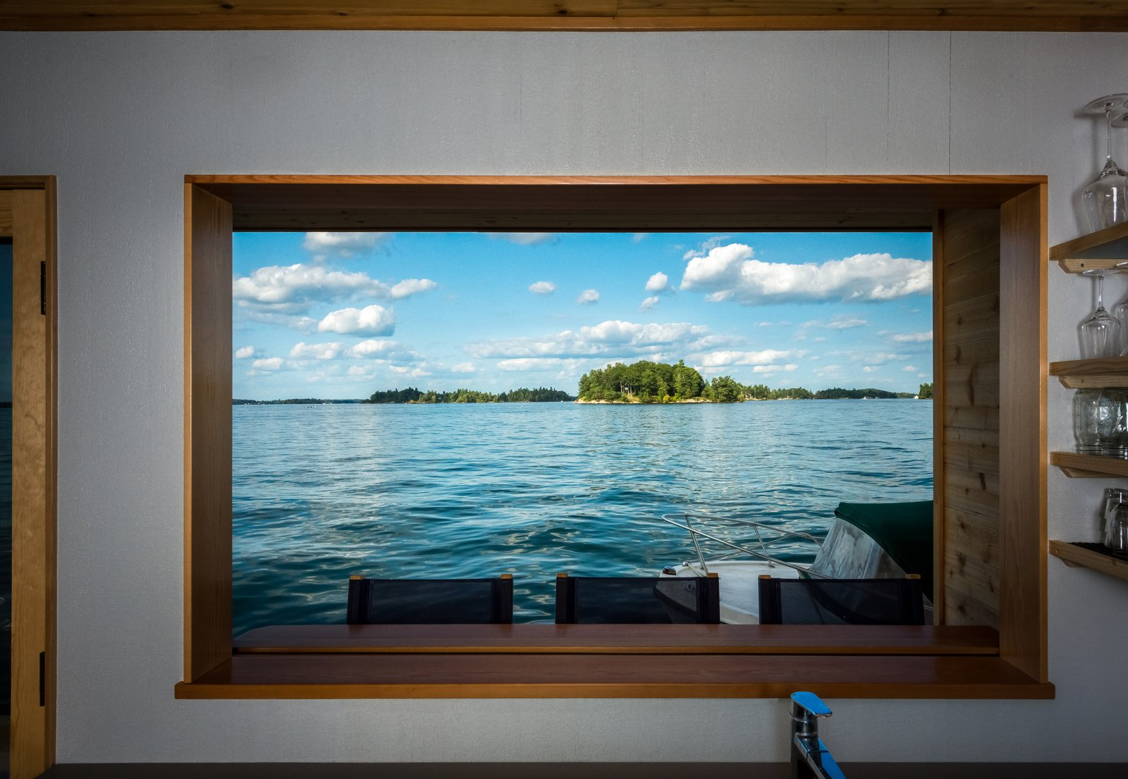 Kitchen, Engineered Quartz Counter, and Colorful Cabinet  The Barge Yacht