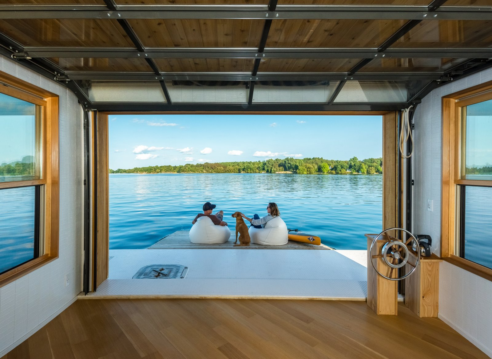 Medium Hardwood Floor, Outdoor, and Infinity Pools, Tubs, Shower  The Barge Yacht