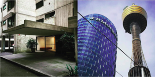 Left: Marcus's old apartment building designed by Harry Seidler, Right: Sydney buildings including Sydney Tower, 1981, Photography: Marcus Hay for SMH, Inc
