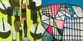 """Left: John Brack, """"The Breakfast Table"""" 1958 and Right: Sidney Nolan, """"Luna Park"""" 1941, At The AGNSW, Photography: Marcus Hay for SMH, Inc"""