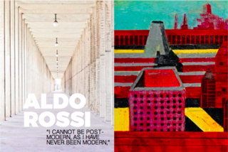 Left: Covered walkway at The San Cataldo Cemetery, Italy, 1971, Right: Aldo Rossi's painting in inspiration for the cemetery