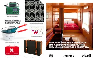 Left: More suggestions from SMH, Inc for cool camping products.  Right: Interiors of a trailer at Hotel El Cosmico in Marfa/ Texas. This picture first appeared in Hotels we Love at the Dwell website.