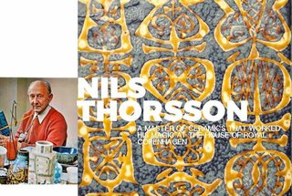 """Left: Portrait of Nils, shot in 1972 in his studio, Image from the book""""The Royal Copenhagen Porcelain Manufactory 1775-1975"""" Right: Detail of a platter from the Baca range"""