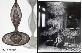 Left: Untitled, 1956, Right: Portrait of Ruth Asawa by Imogen Cunningham