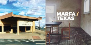 Left: The junction, City of Marfa building, Right: Judd Foundation Photography: Marcus Hay for SMH, Inc