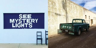 Left: The Mystery Lights sign at Thunderbird, Right: Vintage Jeep parked, Photography: Marcus Hay for SMH, Inc