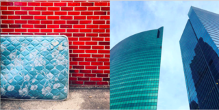 Left: North of the city and abandoned sky blue mattress against a red brick wall, Right: Skyscrapers face off