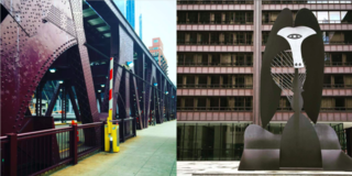 Left: The bridges of Chicago city, Right: Mies meets Picasso, what a duo!