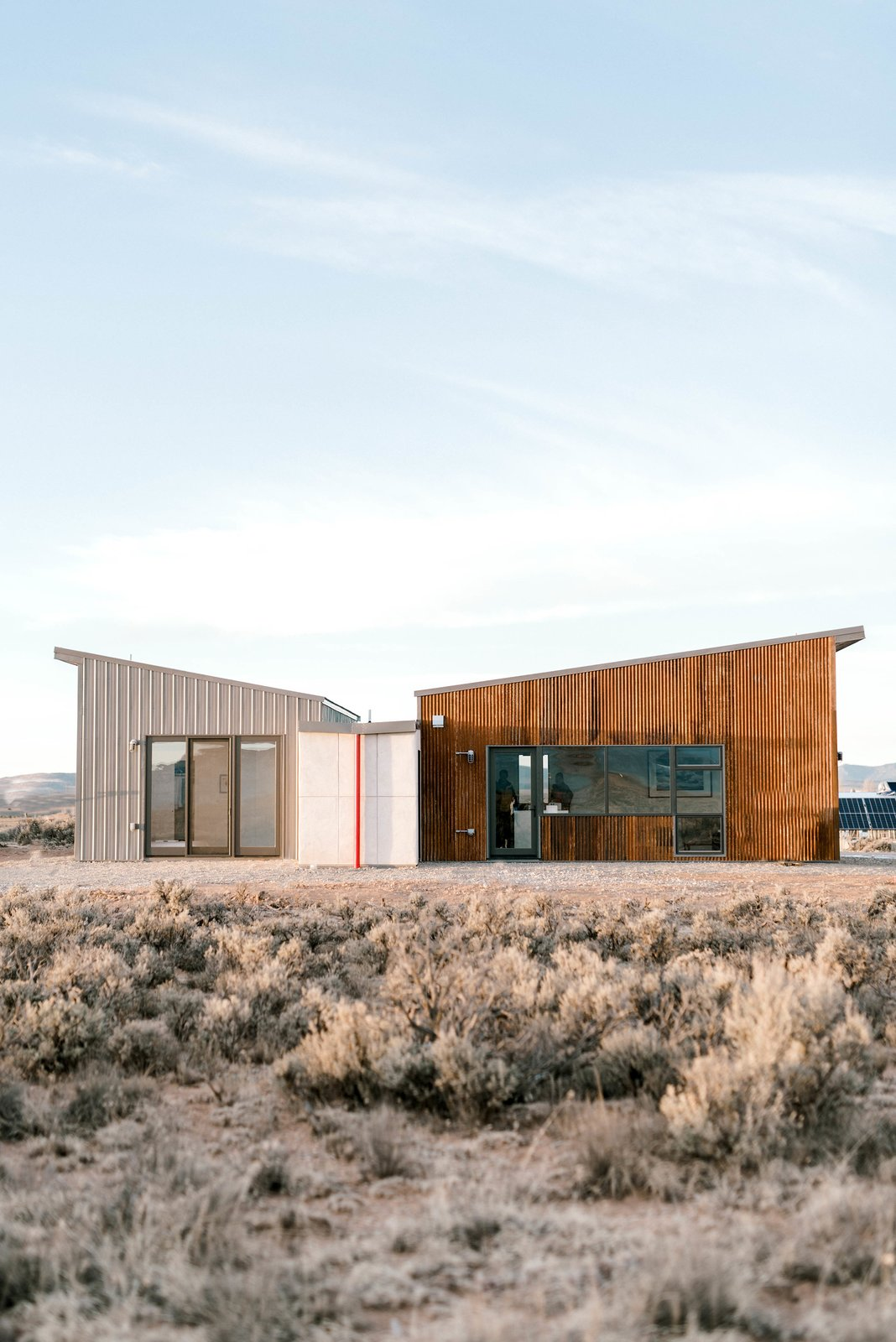 Exterior, Metal Roof Material, House Building Type, Metal Siding Material, and Butterfly RoofLine  Photo 3 of 5 in Top 5 Homes of the Week That Are Even Hotter Than Their Desert Locations from The Modern Taos House