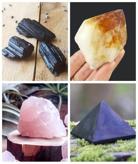Clockwise: Black Tourmaline, Source: The Hippie Ship/Etsy; Citrine, Source: Gypsy Sue Designs/Etsy; Rose Quartz, Source: Midnight In Seattle/Etsy; Shungite, Source The Boho Cat Shop/Etsy