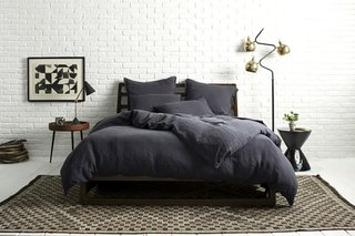Coal on Coal shows the depth of color in our newest Linen hue; Source: Nicole LaMotte/Parachute