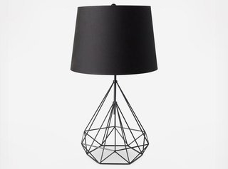 A geometric lamp adds flair to any room; Source: Zola