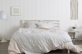 Essential Quilts: Behind the Design + Styling Tips - Photo 3 of 8 - The Fog Essential Quilt and Blush Linen Venice Set make a Pinterest-worthy bedroom; Source: Nicole LaMotte/Parachute