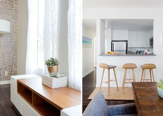 How to Design an Apartment You and Your Roommate Love - Photo 3 of 10 - Pata TV Stand: AllModern. Sede Bar Stools: Article. Natura Hand Spun Jute Runner: Rugs USA; Source: Amy Bartlam/Parachute