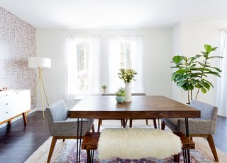 How to Design an Apartment You and Your Roommate Love - Photo 4 of 10 - Dining table and bench: custom. Chanel Dining Chairs: Article. Mid-Century Tripod Floor lamp: West Elm. Tejn Faux Sheep Skin: Ikea; Source: Amy Bartlam/Parachute