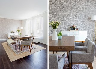 Big Moon Wallpaper: JuJu Papers. Modern Buffet: West Elm. Natura Hand Spun Jute Rug (bottom): Rugs USA; Magical Thinking Hana Kilim Printed Rug (top): Urban Outfitters; Source: Amy Bartlam/Parachute