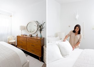 Alton Cherry Dresser: Living Spaces. Parsons Round Mirror: West Elm; Source: Amy Bartlam/Parachute