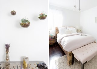 Mirrored Weathered Oak Chest: Pier 1. Terrariums: similar. Emmerson Reclaimed Natural Wood Bed: West Elm. Globe Pendant Chandeliers: West Elm. Bench: similar; Source: Amy Bartlam/Parachute