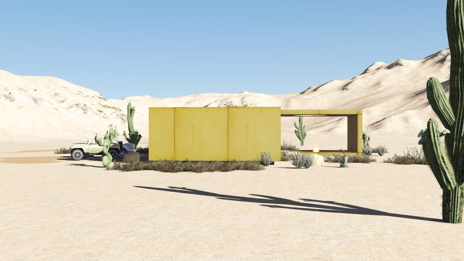 The desert loft resident is involved in off-road activities and required a place, which would sustain its appearance through sandstorms and extensive heat. The massive metal structure elegantly sits in the harsh environment.  The entrance door, secluded behind the thick metal screen, leads to the largest area of the house, unifying the kitchen, the dining room and the living room. The hall connects to three bedrooms and the bathroom.  The dining room exits to the terrace with the fireplace, carved in the floor. the ceiling is hollowed out right above it, following the lines of the round cut out in the floor. The gap's presence is almost poetic, as if it's the only passage transferring the smoke to the sky.   Photo 20 of 23 in 20 Desert Homes from Warmhole
