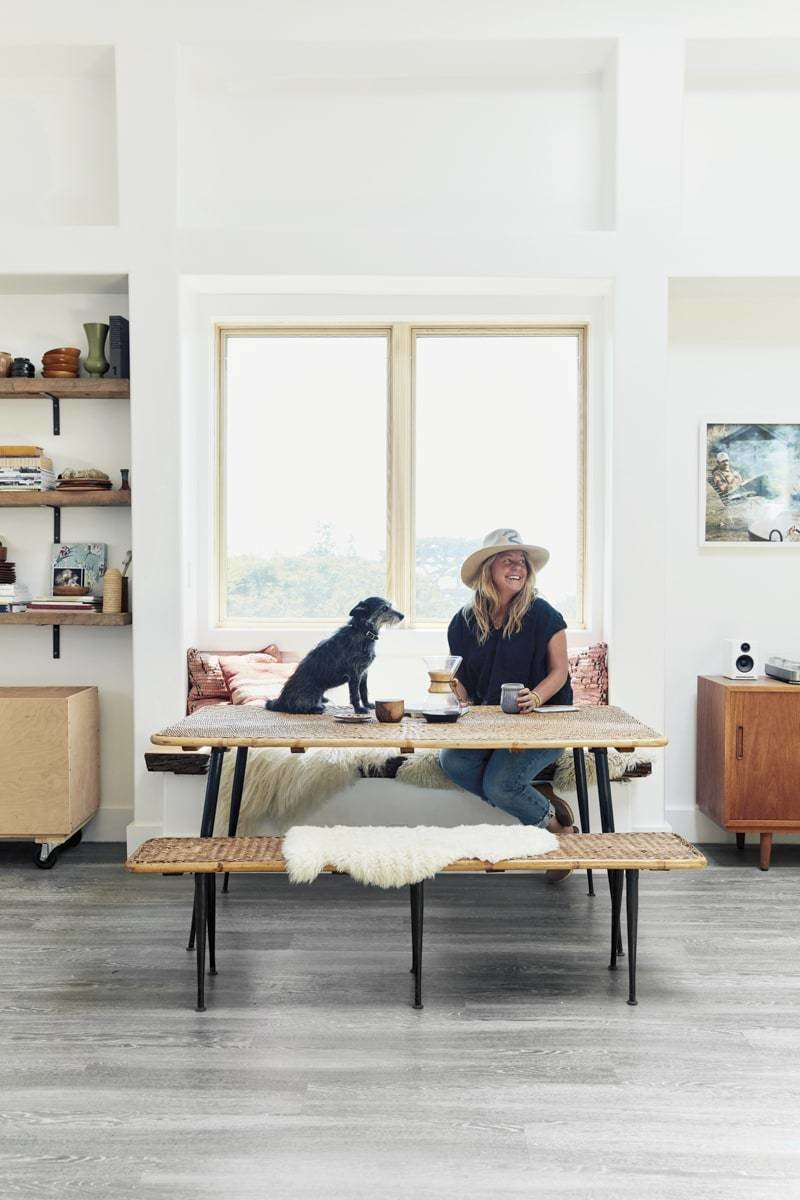 Dining Room, Storage, Bench, Shelves, Table, and Vinyl Floor  Camp Wilder a West Marin Oasis by Thayer Allyson Gowdy