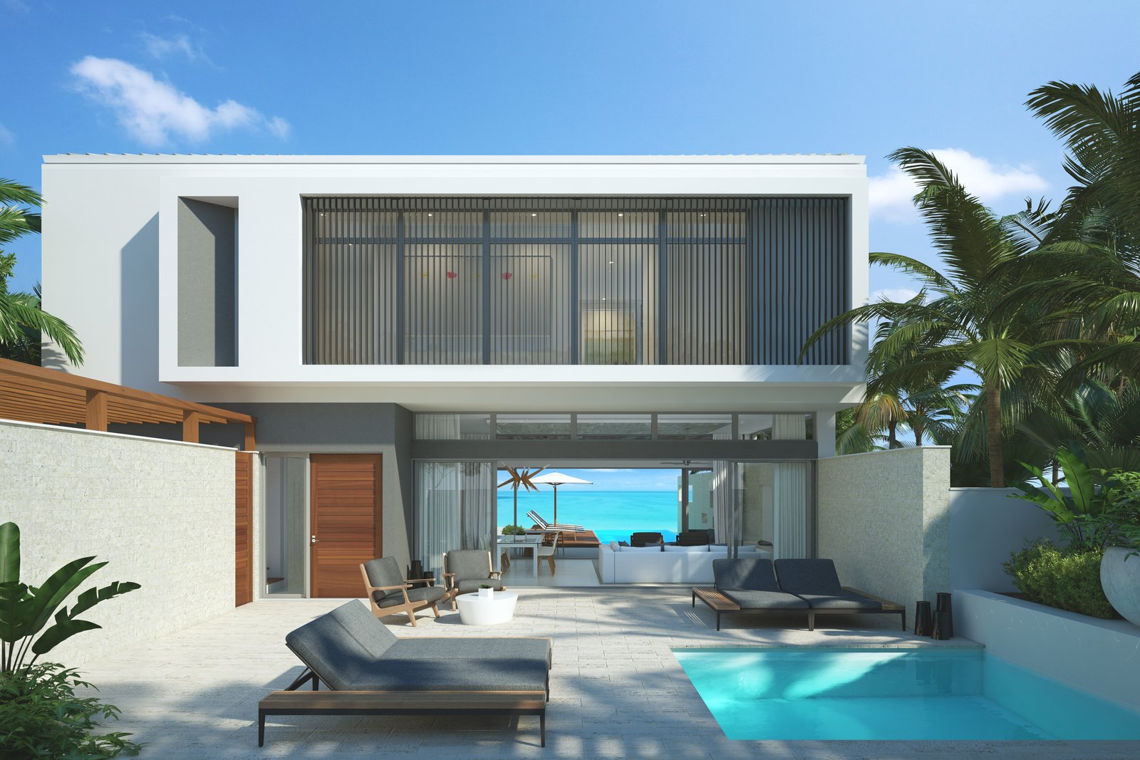 Coast Architects and D'Amico Design Associates (DADA) have taken the crisp lines and contemporary aesthetic found at Gansevoort Turks + Caicos and reimagined it into five recently launched four- and five-bedroom oceanfront villas. Located on the spectacular southern shore of Providenciales in an area known as Turtle Tail, owners will enjoy the privacy of a luxury oceanfront villa, with the amenities of a modern beachside resort.  Photo 2 of 13 in 12 Perfect Plunge Pools For Your Small Outdoor Space from Gansevoort Turks + Caicos launches luxury oceanfront villas