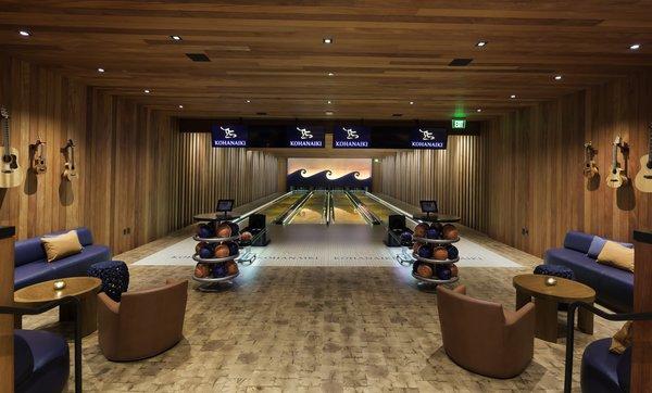 Custom four lane bowling alley.
